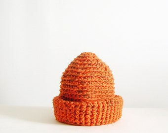 Orange and Brown Blended Beanie Slouchy  Hat Crochet Unisex Beanie Man Woman Teens