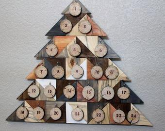 Advent Calendar  - Reclaimed Wood and Aspen Wood Slices - Christmas Countdown Calendar