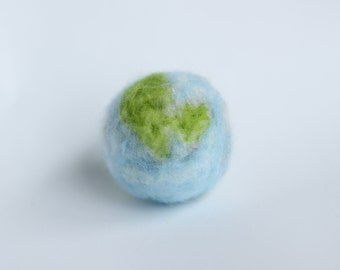 Handmade needle felt Earth Day Globe sculpture, Miniature felt globe