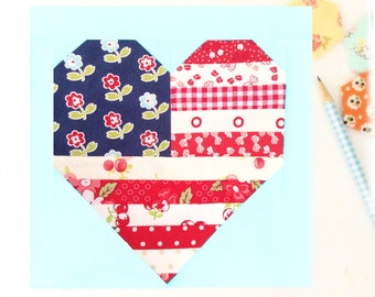 Land That I love American Flag Patriotic 4th of July Heart Quilt Block Pattern with measurements and instructions for 6 and 12 inch blocks