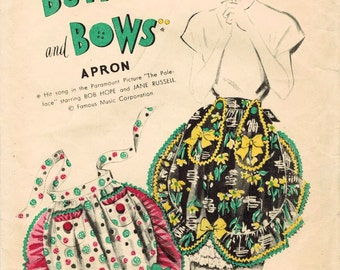 1940s Advance Complimentary FF Vintage Sewing Pattern Misses' Apron Buttons and Bows