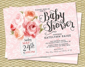 Baby Shower Invitation Baby Girl Shower Invitation Mason Jar Floral Pink Peonies Rustic Baby Shower Shabby Chic Baby Sprinkle, ANY EVENT