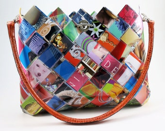 Recycled Fashion Magazines Handbag - Eco Friendly Hand Woven Paper Purse