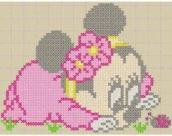 Minnie cross stitch machine embroidery