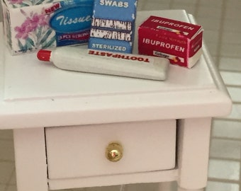 Miniature Bathroom Set, Includes Tissue Box, Toothpaste, Cotton Swabs Box and Ibuprofen Box, Dollhouse Miniatures, 1:12 Scale, Bath Decor
