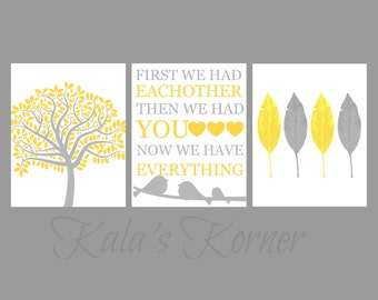 YELLOW GRAY NURSERY - bird nursery art ,yellow gray nursery wall art, custom nursery art 8x10, playroom art, yellow gray