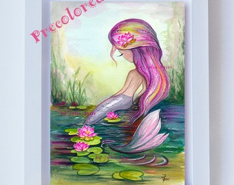 Girl Wall Art Printable, COLOR Printable, Watercolor Painting, Little Mermaid, Illustration, Decor Art, Lotus, Siren. Mermaid and Lotus