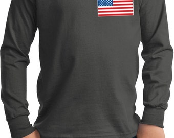 US Flag Pocket Print Kids Long Sleeve Tee T-Shirt 3991-PC61YLS