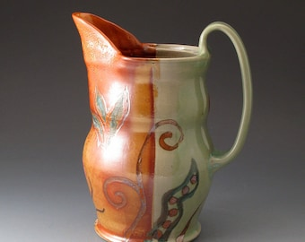 Ceramic Water Pitcher, Celadon and Orange Shino Colors, Handmade Pouring Vessel, Drinkware, Pitchers, Jug