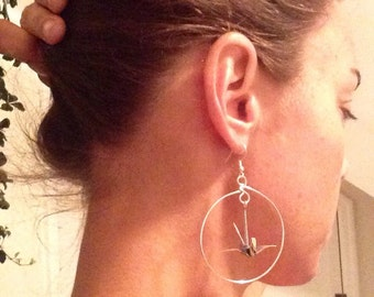 Origami Crane Hoop Earrings with sterling ear hooks - free shipping! e522 Marlisa