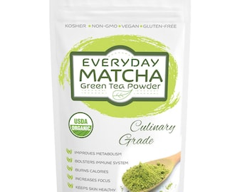Everyday Matcha (16oz) Green Tea Powder, USDA Organic, Ideal for Latte Frappe, Great Quality at Low Cost FREE 1-3 Day USA Shipping