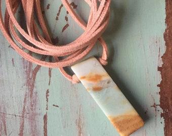 Vegan Leather + Amazonite | Adjustable Length Choker Necklace | Reiki Love Infused | Spiritual Junkies | Yoga + Meditation