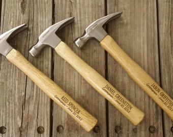 Set of Three Engraved Wooden Handled Hammer - Groomsmen Gift - Personalized Hammer - Father's Day Gift - Gift for Dad - Gift for the Groom