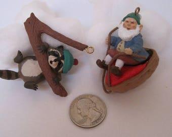 Small Christmas Ornaments, 1990 Hallmark Ornament, Raccoon, Elf Xmas Ornaments