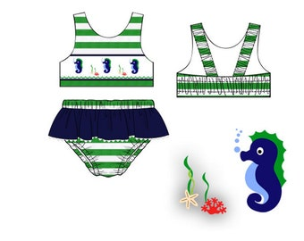 Dana Kids Seahorse Hand Smocked Bikini / Swimsuit Girl Size 2T-6