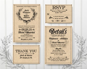 Vintage Wedding Invites, Wedding Invitation Set, Craft Paper Wedding Suite,  Wedding Invitation