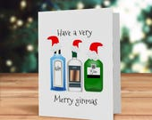 Merry Ginmas card, Festiv...