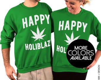 Happy Holiblaze - Unisex Crew Neck Sweatshirt - Ugly Christmas Sweater, Tacky Holiday Sweatshirt, 420 Dinner Party, Women's X-Mas Clothing