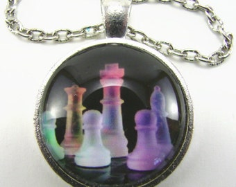 NEON CHESS PIECES Necklace -- Chess king bishop rook pawns in neon blue pink green on black, Chess art necklace, Gift for him or her