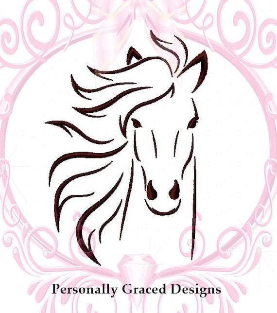 Instant download cavallo faccia macchina ricamo design for Immagini cavalli stilizzati