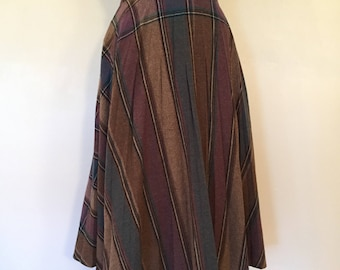 Vintage Plaid Skirt / Sm/Med / Plaid Wool Skirt