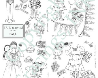 Printable PAPER DOLL Set-PDF Printable-Erin in the Fall-Color yourself-Paper dolls