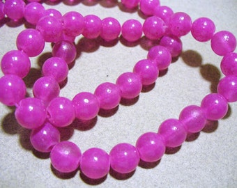 Jade Glass Beads Orchid Round 8MM
