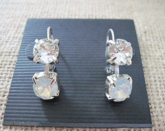 White Opal Swarovski Earrings/Crystal Earrings/Bridesmaid Earrings/ Wedding Jewelry/White Opal Crystal Drop Earrings/ Opal Earrings