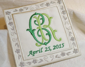 something blue embroidery wedding dress label emerald green and silver french silk satin bridal shower wedding patch