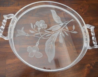 Vintage  Lucite and Glass Tray