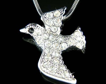 Dainty Swarovski Crystal Peace Dove Pigeon Free Bird Pendant Charm Chain Necklace NEW