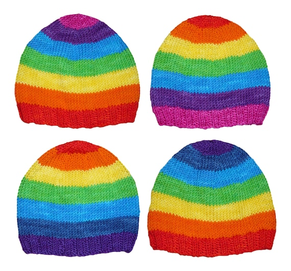 Rainbow Hat Knitting Pattern pdf seven classic colours