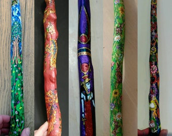 Custom Designed Hand Painted Wooden  Wands.