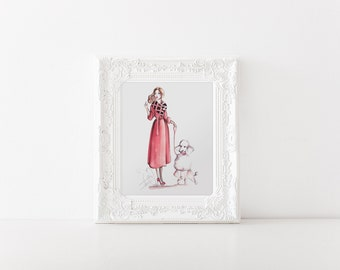 Girl with Poodle, Poodle art, Fashion illustration, Fashion sketch, Poodle print, Fashion wall art, Fashion art