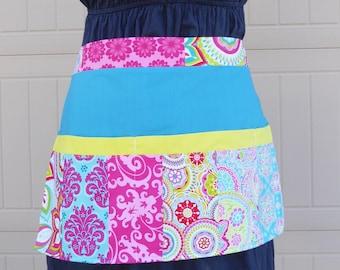 Half Apron // Patchwork quilt Apron // Vendor Apron / Waitress Apron / Teacher apron / Apron