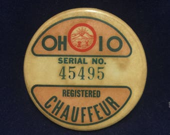 Vintage Ohio Registered Chauffeur Badge