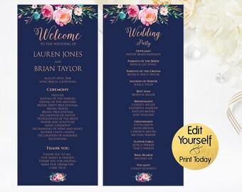 Editable Wedding Program, Wedding Program Template, Wedding Program Printable, Wedding Ceremony Program, Navy Wedding Program, Navy Program