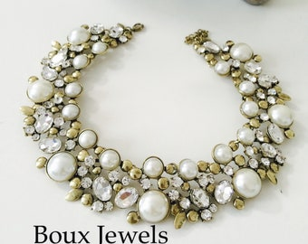White & Gold Womens Pearl and Rhinestone Statement Bib Necklace