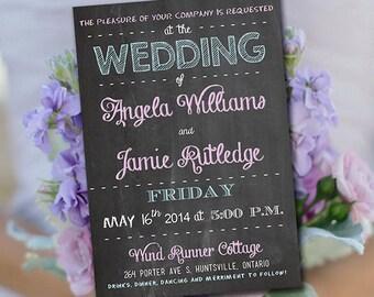 Chalkboard Wedding Invitation Template - Chalkboard Printable Invitation - Word Template - Instant Download Printable Wedding Invitation