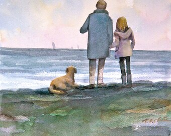 Father, Daughter and their Dog on The  Beach - Art print of watercolor painting
