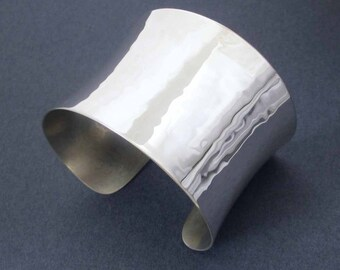 Hammered Sterling Silver Cuff Bracelet Modern Jewelry Silver Wide Cuff Handmade Silver Bracelet in Size Small or Medium