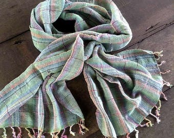 Hand Woven Scarf Pure Cotton Scarf Hand Woven Scarf Ikat Scarf, Ikat Shawl Cotton Wrap