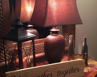 """Rustic distressed wooden """"We gather together"""" sign"""