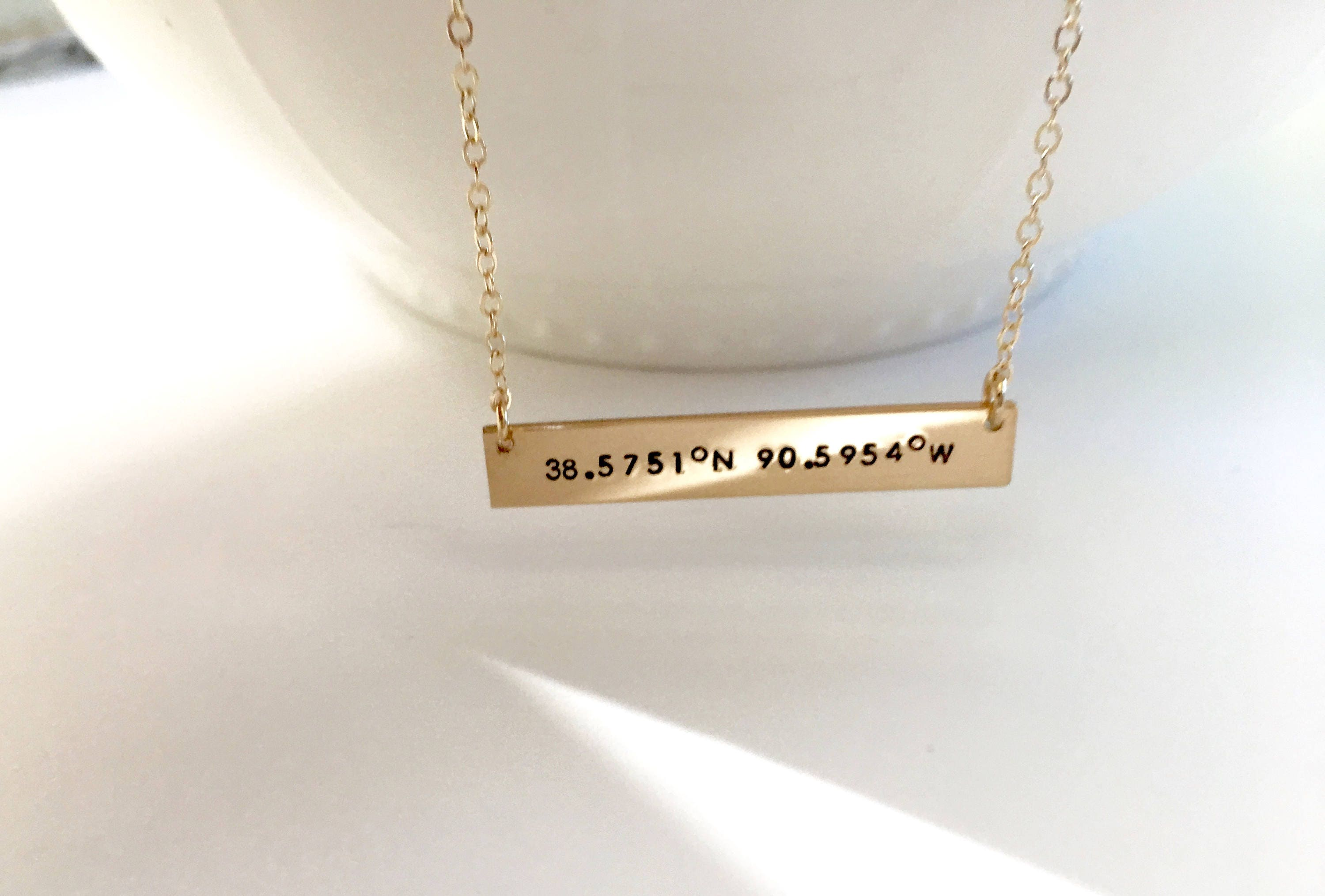 hammered necklaces coordinate personalized gold handstamped jewelry handmade bar necklace