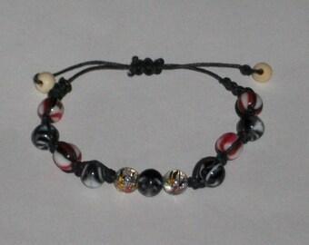 Ethnic BRACELET - black cord and beads