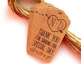 10 - 100 pcs. Thank You For Sharing Our Special Day, Thank You Tag, Wedding Thank You Tags, Gift Tags, Wedding Favor, Wedding  Kraft Tags