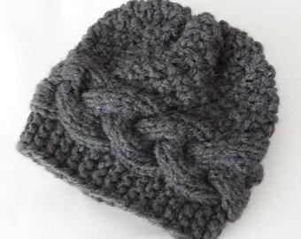 Knit Cable Hat, Photo Prop Hat, Newborn Hat, Baby winter hat , Boy Hat, Baby Hat, Knit Baby Boy Hat, , newborn outfit boys knit hat COLORS