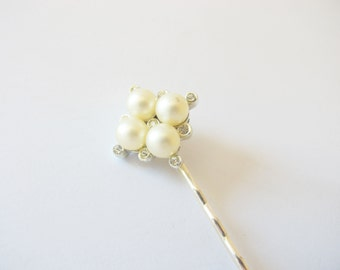 Nostalgic Pearl No.51 Vintage Pearl and Rhinestone Bridal Hair Pin, Special Occasion hair accessory