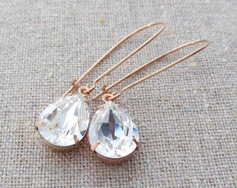 Swarovski Crystal Faux Diamond Pear Crystal Long Dangling Teardrop Tear Drop Rose Gold Gold Silver Bridal Earrings Wedding Bridesmaids Gifts