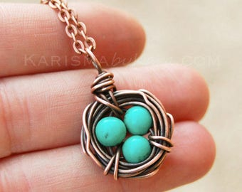 Bird Nest Necklace, Oxidized Copper, Howlite, Turquoise, Wire Jewelry